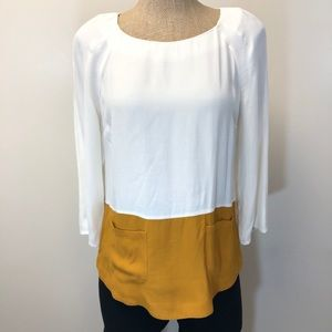 MASSIMO DUTTI colorblock top with pockets